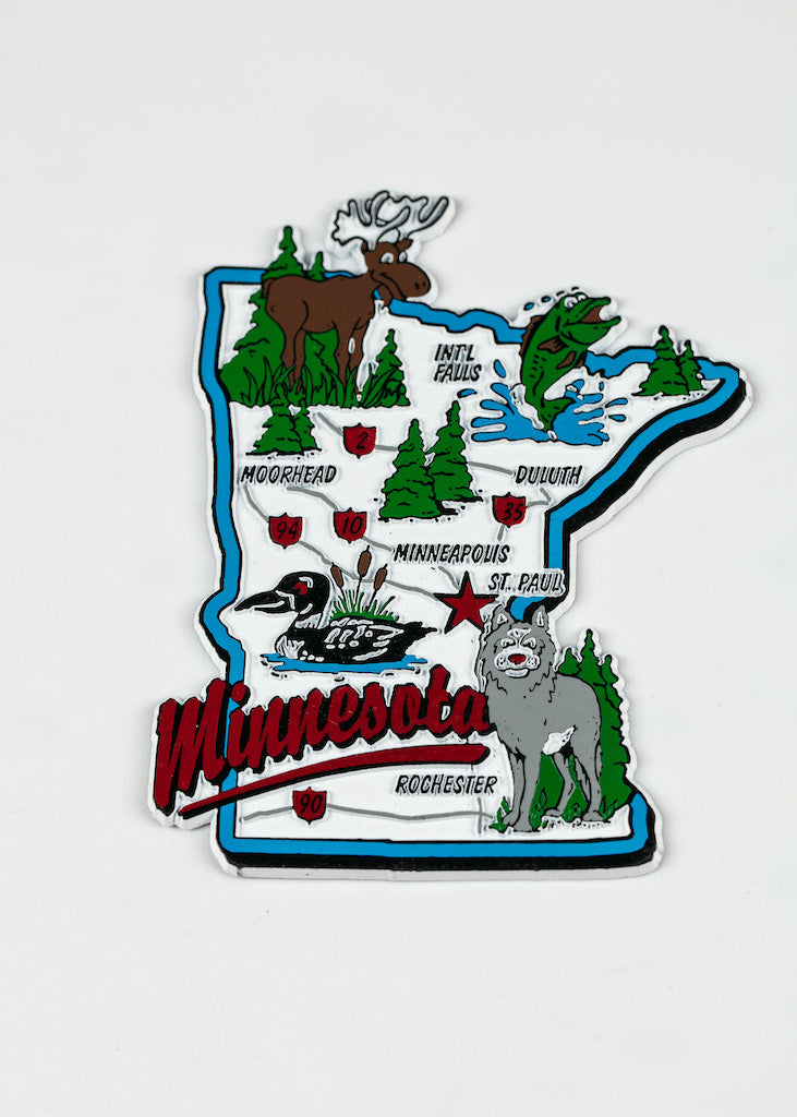 "MINNESOTA JUMBO MAP RUBBERIZED MAGNET 3.5"" 4.0"""