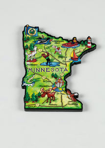 "MINNESOTA ART MAP COLORFUL MAGNET 3.0""X 3.75"""