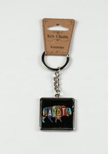 "NORTH DAKOTA LICENSE PLATE BUFFALO KEY RING 1.5""W X 4.0""L"