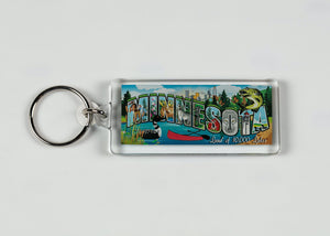 "MINNESOTA LUCITE COLLAGE KEY RING 1.25"" W X 4.0"" L"