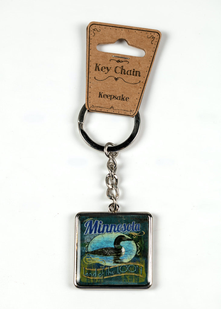 "MINNESOTA RUSTIC LOON KEY RING 1.5"" W X 4.0"" L"