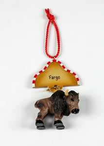 "POLY RESIN FARGO BUFFALO ORNAMENT 3.0"" X 3.5"""