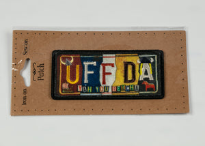 "UFFDA LICENSE PLATE IRON ON PATCH 1.75"" X 3.5"""