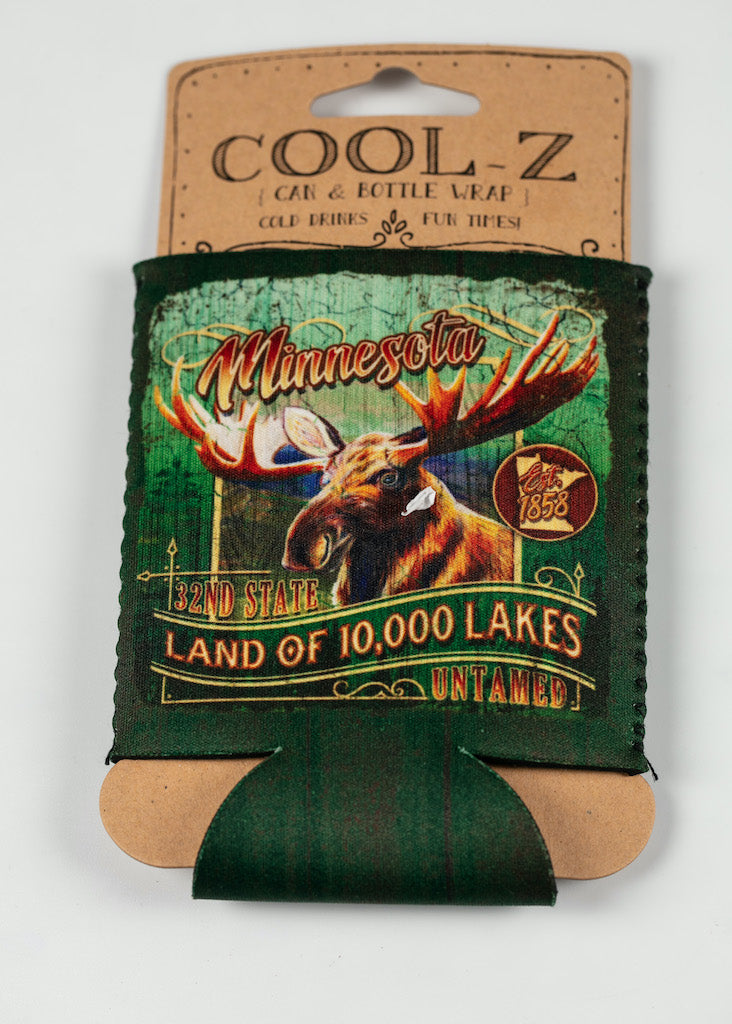 MINNESOTA RUSTIC MOOSE CAN COOZIE
