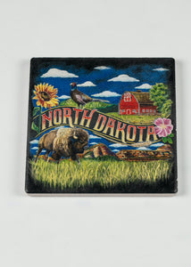 "NORTH DAKOTA CHALK ART CERAMIC CORK BACK COASTER 4""X 4"""