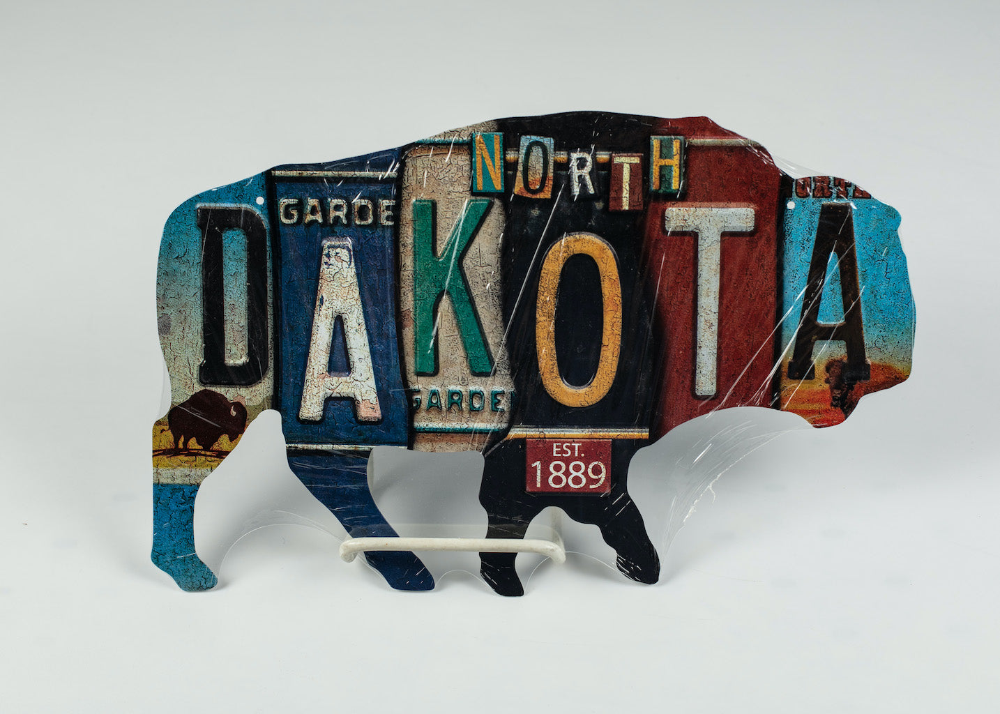 NORTH DAKOTA CUT OUT BUFFALO METAL LICENSE PLATE