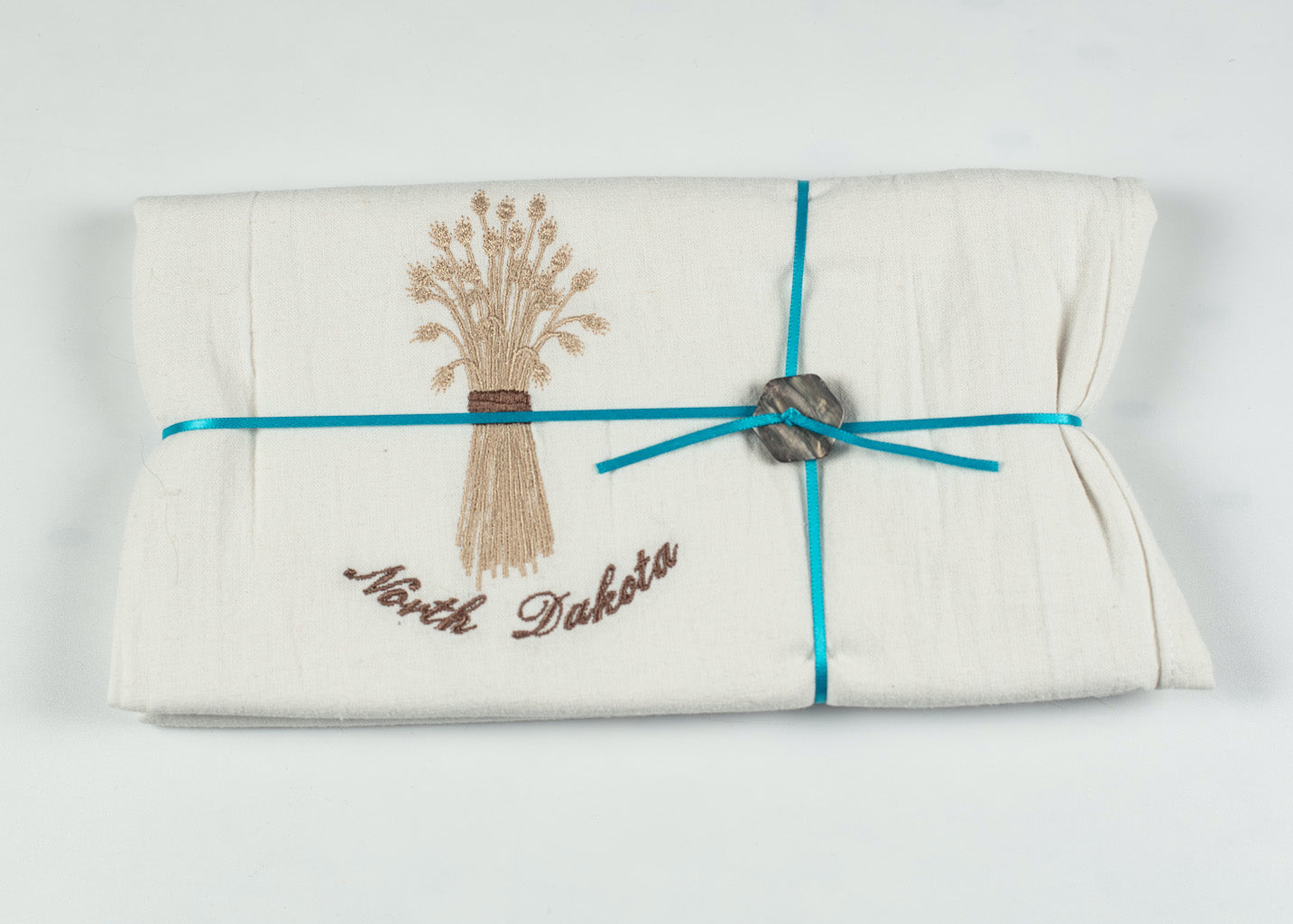 "NORTH DAKOTA EMBROIDERED WHEAT FLOURSACK TOWEL 32""x 36"" MADE IN ST. BONIFACIUS MN"
