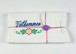 "VALKOMMEN EMBROIDERED FLOURSACK TOWEL 32"" X 36"" MADE IN ST. BONIFACIUS MN"