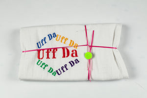 "UFFDA EMBROIDERED FLOURSACK TOWEL 32"" X 36"" MADE IN ST. BONIFACIUS MN"