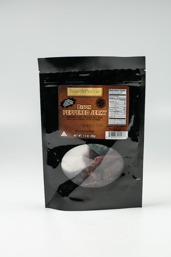 NORTH PRAIRIE PEPPERED BISON JERKY 42.5243 MADE IN LEEDS ND