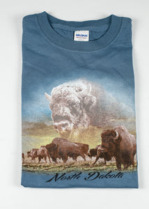 NORTH DAKOTA GHOST BISON YOUTH TEE ROYAL BLUE 100 % COTTON