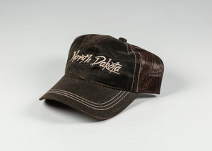 NORTH DAKOTA SCRIPT EMBROIDERED CHOCOLATE HAT WITH ADJUSTABLE STRAP