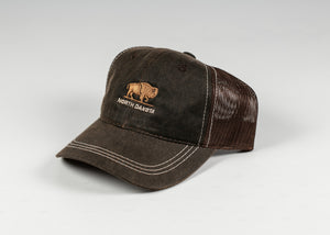 NORTH DAKOTA EMBROIDERED BUFFALO CAP CHOCOLATE HAT W/ ADJUSTABLE STRAP