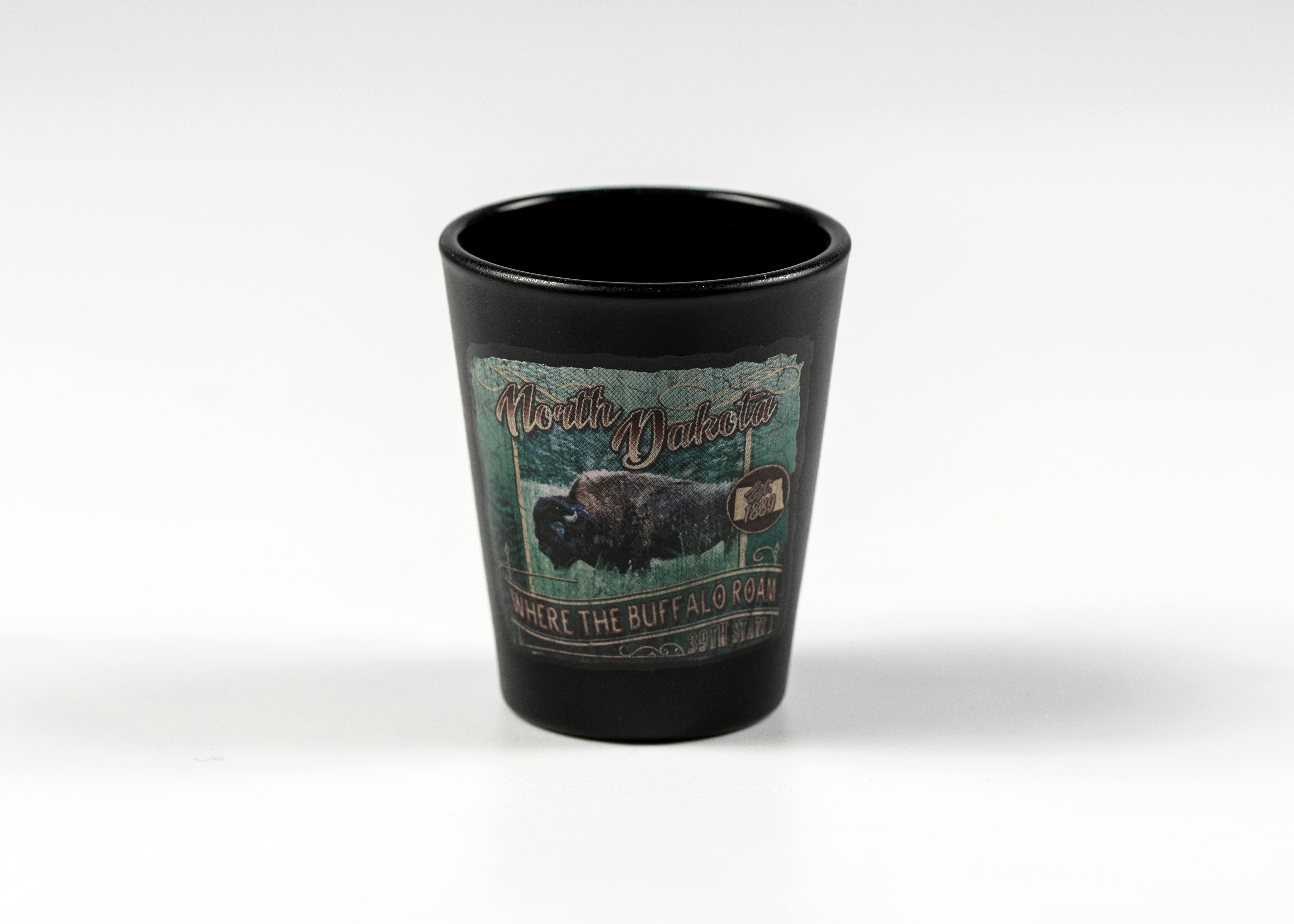NORTH DAKOTA RUSTIC ART BUFFALO SHOTGLASS