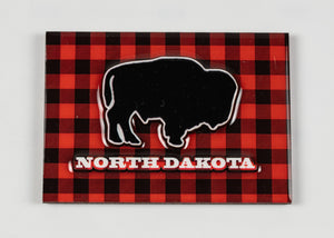 "NORTH DAKOTA PLAID BUFFALO MAGNET 2.5""X3.5"""