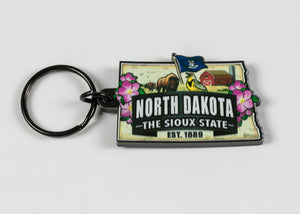 "NORTH DAKOTA CLASSIC MAP KEY RING 1.25""W X 3.5"" L"