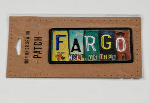 "FARGO LICENSE PLATE IRON ON PATCH 1.75"" X 3.5"""