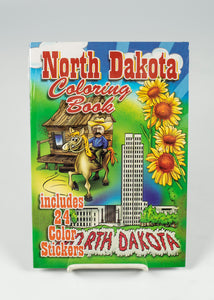 "NORTH DAKOTA COLORING BOOK WITH 24 STICKERS 6.75"" X 9.75"" 24 PAGES"