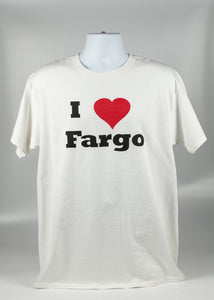 I LOVE FARGO ADULT TEE WHITE COLOR 50/50 COTTON POLYESTER