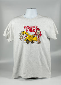 WOODCHIPPIN' IN FARGO ADULT TEE ASH GRAY COLOR 99% COTTON