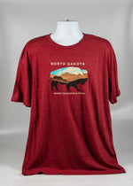 Load image into Gallery viewer, NORTH DAKOTA MULTI COLOR BUFFALO DESIGN ADULT TEE 50% POLY,37 % COTTON 13% RAYON