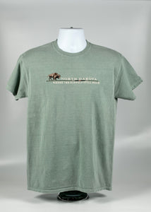 NORTH DAKOTA ADULT EMBROIDERED DESIGN BUFFALO TEE 100% COTTON