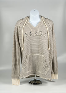 FARGO WOMEN'S FLOCKED LETTER ADULT FRENCH TERRY HOODIE BONE/OATMEAL COLOR 60/40 COTTON POLY BLEND