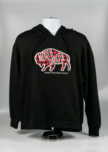 NORTH DAKOTA ADULT PLAID BUFFALO HOODIE 55/45 COTTON POLY BLACK