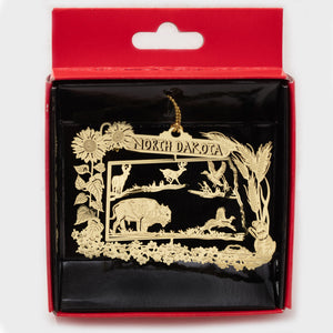 "NORTH DAKOTA FLASHED BRASS MAP WITH WILDLIFE ORNAMENT 2.0""X 2.75"""