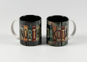 11 OZ WRAP DESIGN NORTH DAKOTA LICENSE PLATE MUG GRAY