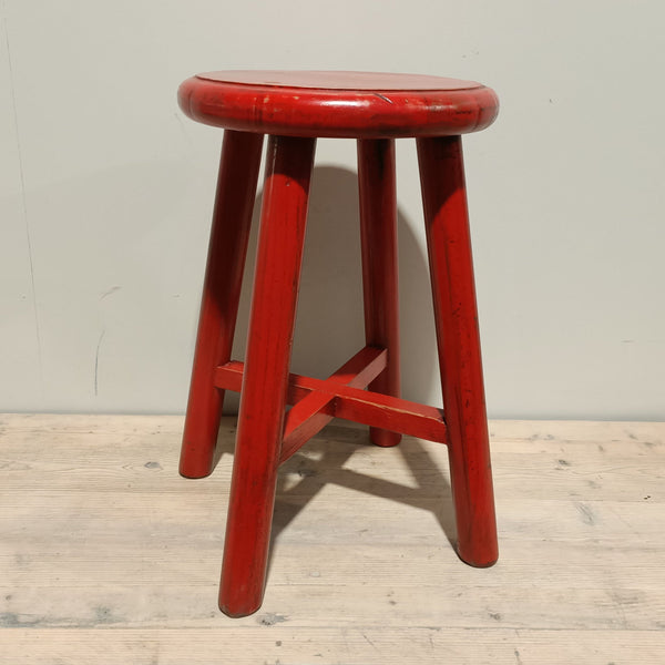 Round Top Stool - FULL RED