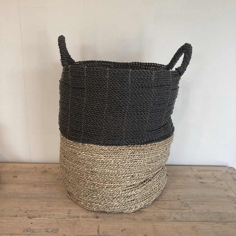 Basket Tall (Natural & Black) - SEAGRASS & RAFFIA