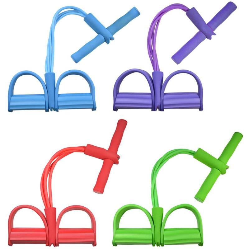 4 Tube Latex Pedal Exerciser Sit-up Pull Rope