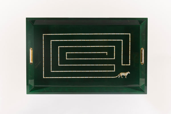 Emerald green lacquer tray with brass handles displaying a labyrinth made of a leopard tail.