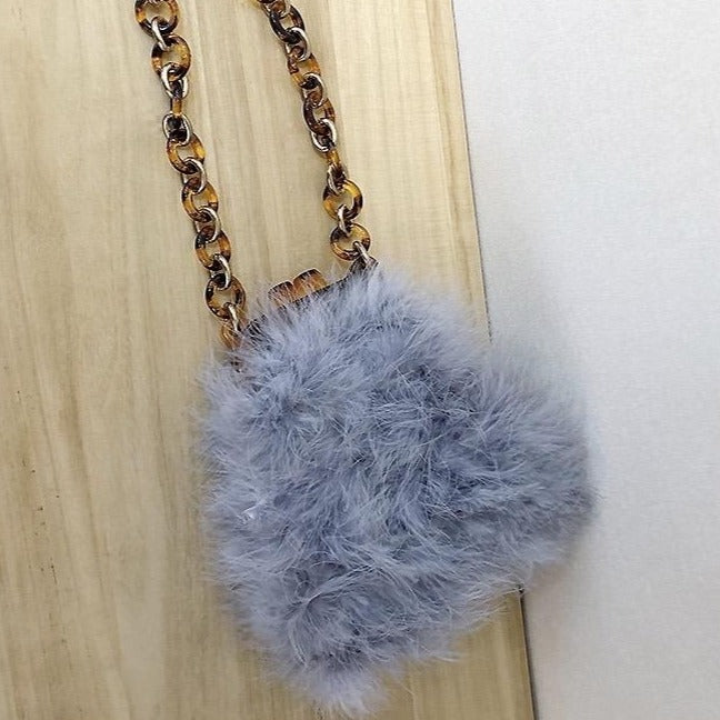 Feather Chained Shoulder Bag