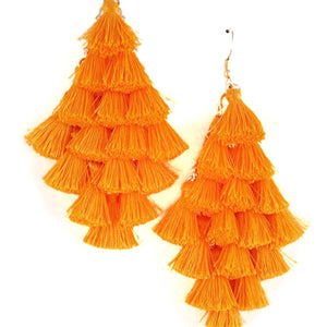 Layered Tassel Earring(Neon Orange)