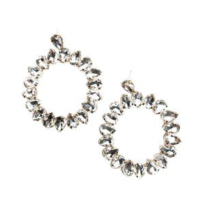 Teardrop Glass Crystal Hoop Earring(Clear)