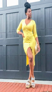 Snatched Midi Dress(Yellow)