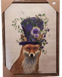 Fox Hat  Flowers canvas Print
