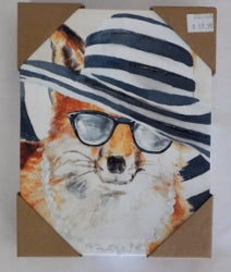 Fox Striped hat canvas Print
