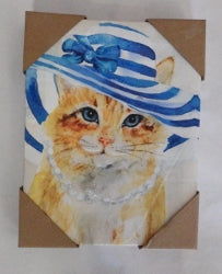 Ginger Cat Blue white Striper Hat Canvas Print