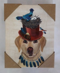 Labrador  Retriever  Hat birds Canvas Prints