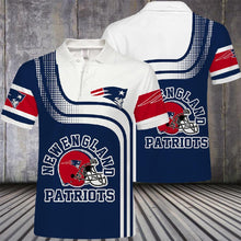 Load image into Gallery viewer, New England Patriots Button Up Polo Shirt