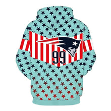 Load image into Gallery viewer, 3D New England Patriots Printed Light Blue Hooded Pocket Pullover Sweater
