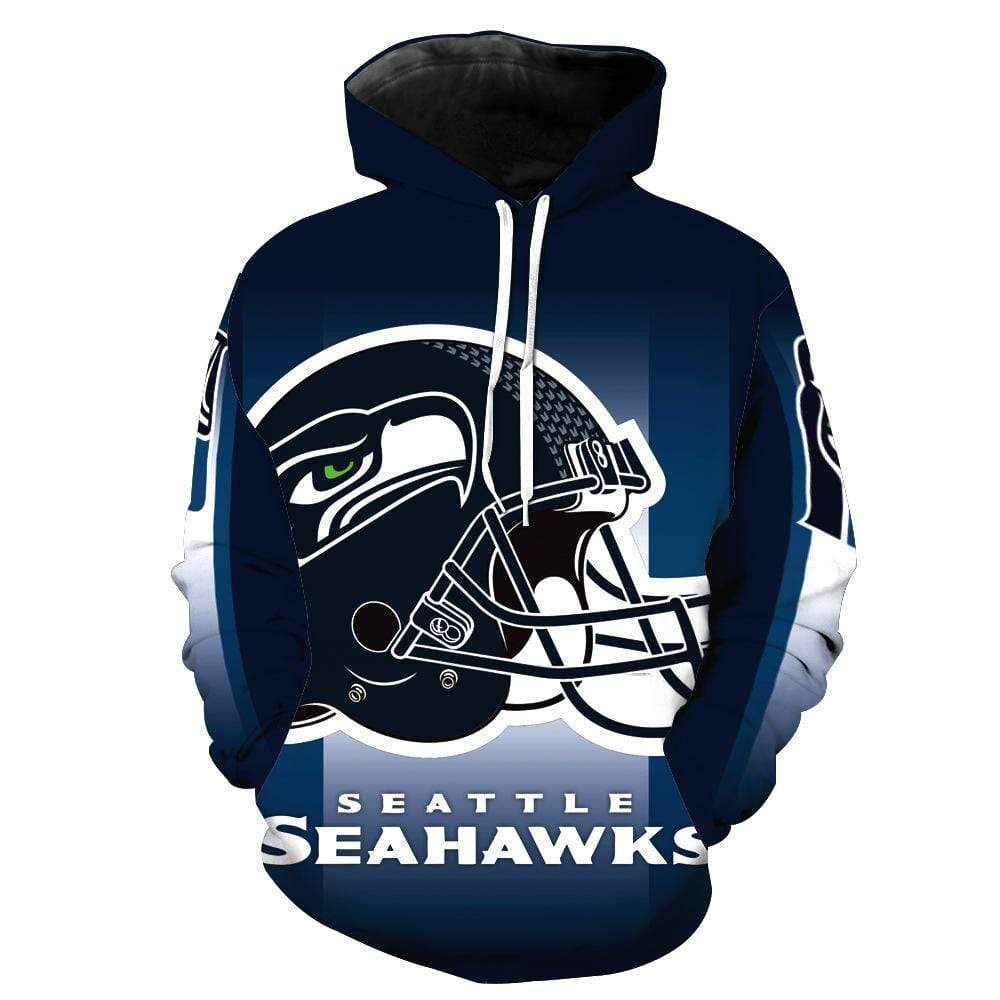 3D Seattle Seahawks Printed Hooded Pocket Pullover Sweater