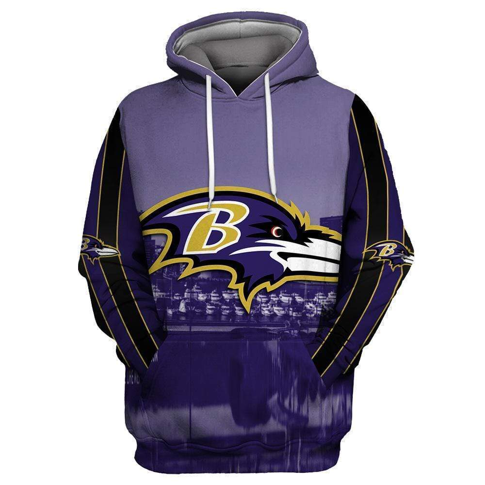 Baltimore Ravens Cool Printed Hooded Pocket Pullover Sweater