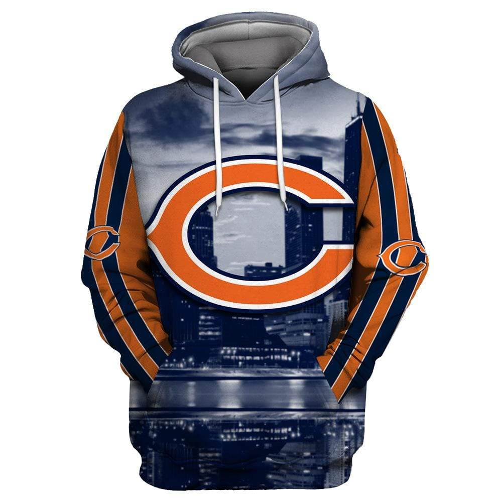 Chicago Bears 3D Printed Hooded Pocket Pullover Sweater