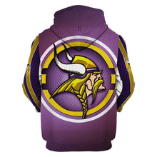 Load image into Gallery viewer, Minnesota Vikings Printed Hooded Pocket Pullover Sweater
