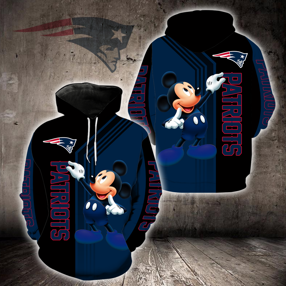 New England Patriots 3D Printed Hooded Pocket Pullover Hoodie