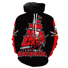 Load image into Gallery viewer, Tampa Bay Buccaneers Printed Hooded Pocket Pullover Sweater